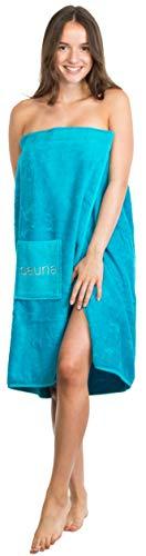 Brandsseller Toalla de sauna para mujer con cierre de velcro, goma elástica y bolsillo 100% algodón, color turquesa