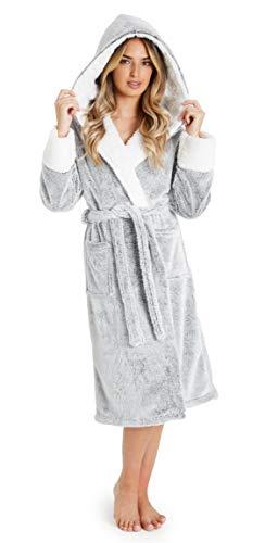 CityComfort Bata de Estar por Casa Mujer Invierno con Capucha, Ropa de Dormir Suave Material Forro Polar, Regalos para Mujer (Gris, M)