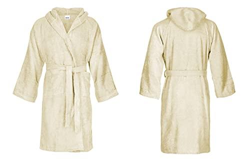 Bassetti Albornoz unisex con capucha de rizo de algodón puro, talla S a 5XL (beige, XXL, XX_L)