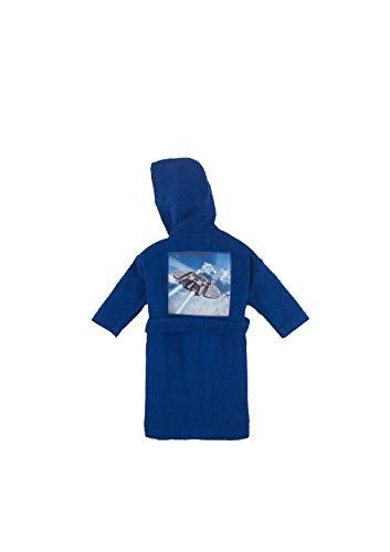 Bassetti Albornoz para niño The Space 100% rizo de puro algodón con capucha, color azul, 4 – 6 años