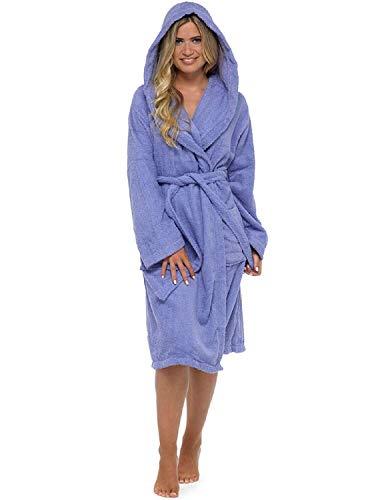 CityComfort Señoras Robe Luxury Terry Toweling algodón Bata Albornoz Mujeres Altamente Absorbente Mujeres con Capucha y Shawl Towel baño Abrigo (L, Morado)
