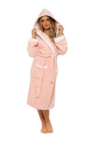 CityComfort Albornoz Mujer Baño, Ropa Mujer 100% Algodon, Bata de Casa Mujer con Capucha Suave y Absorbente, Regalos para Mujer y Chica Adolescente Talla S - XL (L, Rosa y Blanco)