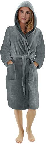 NY Threads Lujo Bata de Forro con Capucha para Mujer - Batas De Estar En Casa de Súper Suave (Gris Acero, Medium)