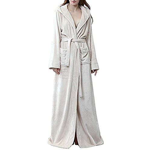 INSTO Ladies Nightgown Flannel Encuadre de Cuerpo Entero Cálido Albornoz Otoño Invierno Vestido Vestido Homewear Pijamas,Beige,M
