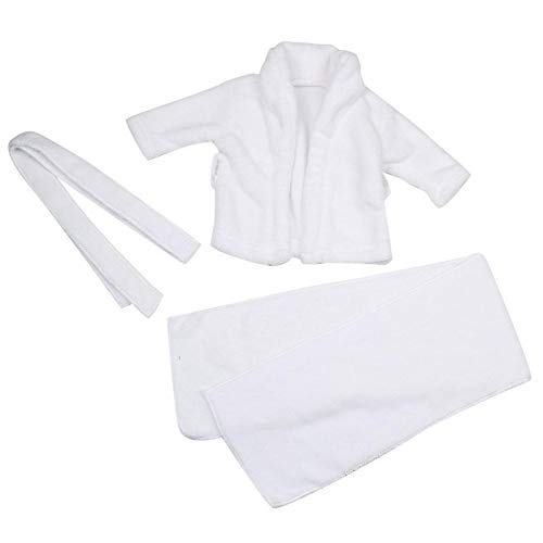Baby Prop Albornoz, Bebé blanco accesorios de fotografía Albornoz + Toalla Recién nacido Infantil Blanco Con capucha Toallas de baño Disparo Foto Disfraz(3-6 Months)