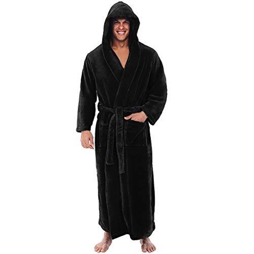 FeelFree+ Camisón de Hombres, Albornoz de Pijama de Terciopelo cálido y Franela de Invierno,Vestido de Noche de Manga Larga de Albornoz Extra Largo de Talla Grande