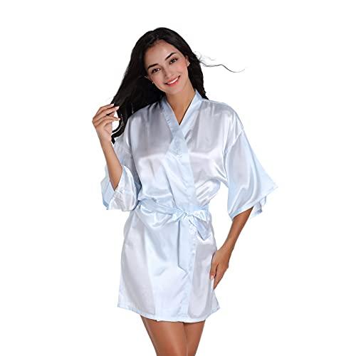 L PATTERN Pijama Mujer Camisón de Seda de Imitación para Mujer Bata de Kimono de Satén Noble Cárdigan Fino Bata de Verano Albornoz Corto Sexy, Celeste, M