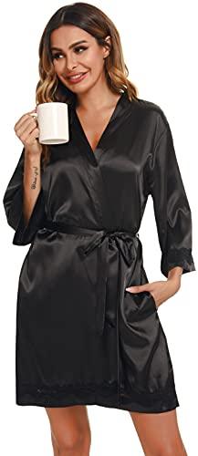 Vlazom Kimono Mujer Satén Suave Bata Seda Mujer,Albornoces para Muje de Dormir/Bata Mujer de Pijamas S-XXL ,Negro,M