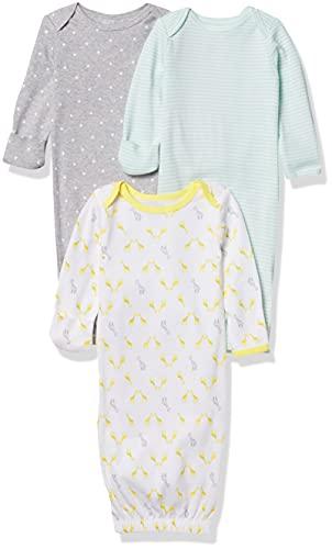 Simple Joys by Carter's Baby - Juego de 3 pijamas de algodón ,Gray/Green/Yellow ,0-3 Months