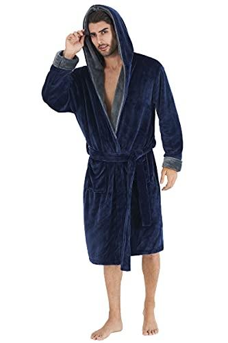 Fanient Albornoz de franela para hombre, con capucha, forro polar, azul marino/gris, XXL