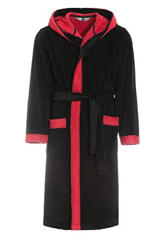 Revise RE-855 - Albornoz con capucha para hombre con fibra de bambú, albornoz para sauna Negro y rojo S