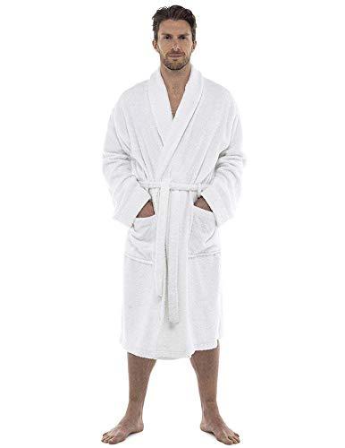 Bata de baño para Hombres Bata de algodón 100% Terry Albornoz Albornoz Baño Ideal para Gimnasio Ducha SPA Hotel Bata Tamaño de Vacaciones M/L, L/XL, 2XL, 3XL y 4XL (3XL, Blanco)