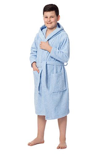 ZOLLNER Albornoz niños 8 a 11 años, 100% algodón, azúl Celeste