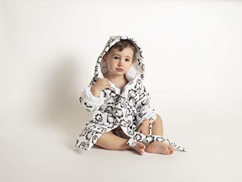 Ti-Tin Albornoz infantil de algodón tipo toalla con estampado de PINGÜINOS en color gris - Talla 3-4 años
