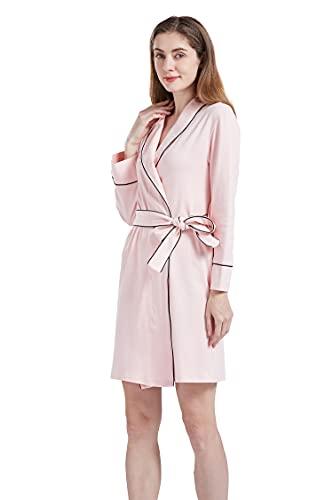 Taigood Mujeres Kimono Dormir Trajes Damas con Cuello en v Albornoz Suave algodón Ropa de Dormir Loungewear Rosa Grande