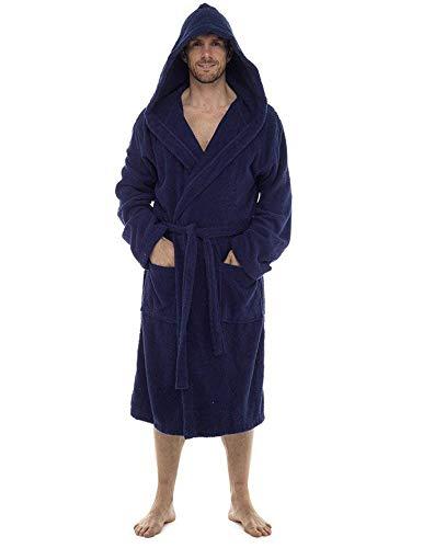 Bata de baño para hombre, 100% rizo de algodón, perfecta para el gimnasio, ducha, spa, hotel, vacaciones. Azul azul marino M/L