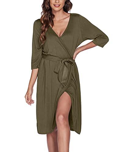 Camisón de mujer con cuello en V albornoz bata bata de sauna verde militar M