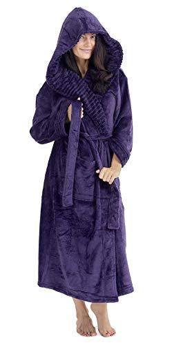CityComfort Albornoz Mujer Ducha Súper Suave en Lana Polar Bata con Capucha (L, Morado Oscuro)