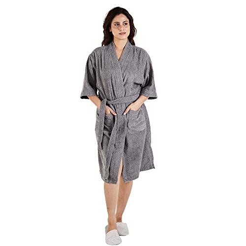 TRIDENT Albornoz Kimono largo 100% algodón Simply Fresh, bata, perfecto para gimnasio, ducha, spa, bata de hotel, vacaciones (Gris, S/M)