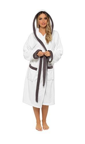 CityComfort Albornoz Mujer Baño, Ropa Mujer 100% Algodon, Bata de Casa Mujer con Capucha Suave y Absorbente, Regalos para Mujer y Chica Adolescente Talla S - XL (M, Gris y Blanco)
