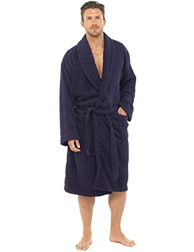 CityComfort Bata de baño para hombres Bata de algodón 100% Terry Albornoz Albornoz Baño ideal para gimnasio Ducha Spa Hotel Bata Tamaño de vacaciones M / L, L / XL, 2XL, 3XL y 4XL (M/L, Azul Marino)