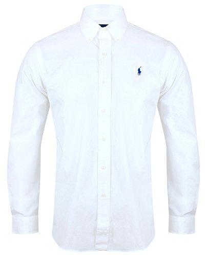 Ralph Lauren Polo camisa de hombre ajuste personalizado de popelina blanco azul marino negro S–XXL blanco blanco Large