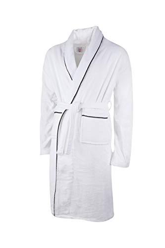 Clinotest Albornoz de terciopelo para hombre y mujer, color blanco con ribete negro, varias tallas (S)