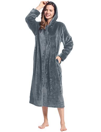 Joyaria Albornoz de invierno para mujer, de forro polar, con capucha, suave, mullido, largo, Capucha gris, S