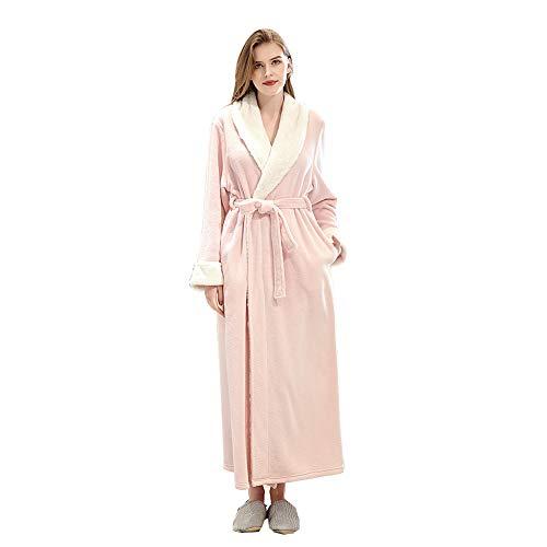 VKTY - Albornoz de franela con cuello amplio de forro polar, ligero y cálido, cómodo, para mujer, bata larga, kimono, ropa de dormir de invierno para adulto (color rosa, talla XL)