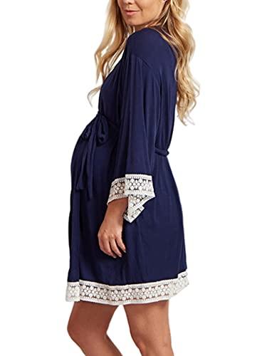 Achinel Albornoz para mujer, bata de maternidad, camisón, kimono, pijamas, cárdigan para dormir, 3XL, azul marino