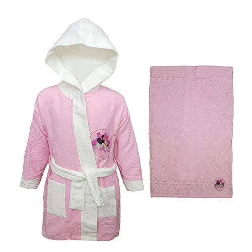 Albornoz y Toalla de Rizo para bebé 100% algodón Minnie Disney Rosa 12 Meses