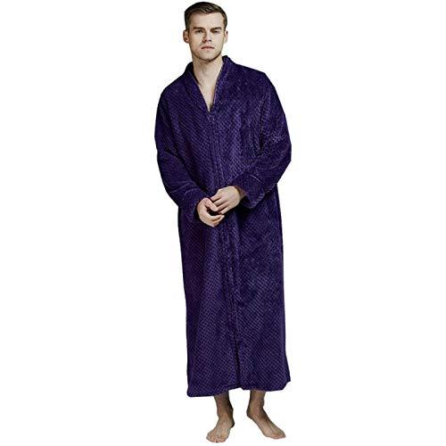 ZJMIYJ Albornoz De Hombre,Hombres Púrpura Albornoz Extra Largo Más Tamaño Invierno Cálido Coral Fleece Pijama Hombres Hombres Baño Bata Novia Vestido De Novia Boda, M