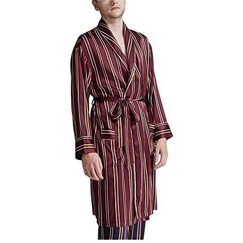 LZJDS Batas De Seda con Estampado De Rayas para Hombres Bata De Satén con Solapa Bata De Seda Real Albornoz Camisas De Dormir,Wine Red,L