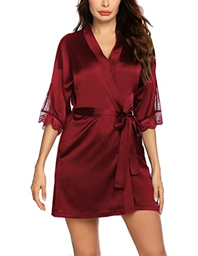 Balancora Kimono - Bata corta de encaje para mujer, albornoz de seda, falda de noche de satén con bolsillos, borgoña, M