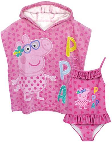 Peppa Pig Conjunto de Traje de baño y Poncho de Toalla con Capucha niñas 2-3 años