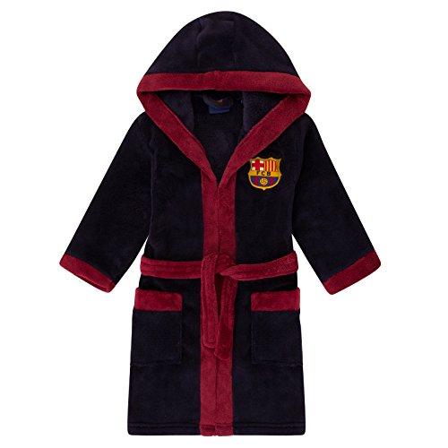 FC Barcelona - Batín oficial con capucha - Para niño - Forro polar - Azul marino - 7-8 años