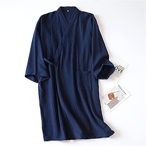 Kimono Primavera y Verano algodón Damas camisón Fino Hombres Albornoz Bata Servicio a Domicilio Pijamas-Male Navy blue-1-M