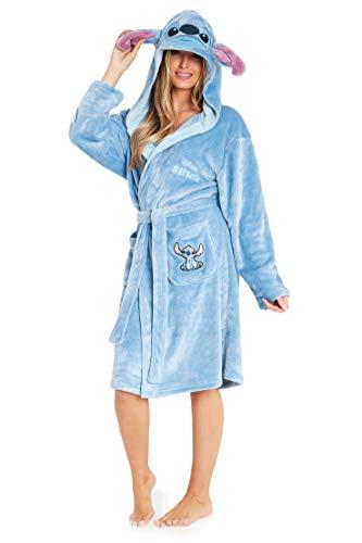 Disney Albornoz Mujer, Bata de Casa Mujer Personaje Stitch, Bata Forro Polar Mujer con Capucha y Cinturon, Regalos Para Mujer y Chica Adolescente Talla S-XL (Azul, M)
