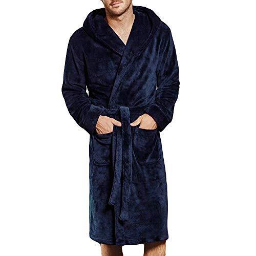 HUAHUA HOMEWEAR Los hombres del invierno Alargado coralinas felpa Mantón Albornoz Manga larga capa de los hombres del traje túnica con cinturón super suave felpa ropa de dormir Albornoz, azul, XXL Ven