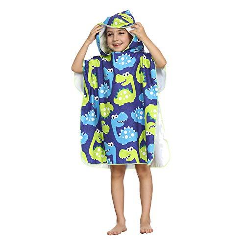 ED-Lumos Toalla de baño con Capucha para niño niña Poncho Playa Infantil Microfibra Albornoz 4-7 años Dinosaurio Azul y Verde
