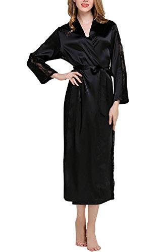 Dolamen Mujer Vestido Kimono Satén Largo, Cordón Camisón para Mujer, Lujoso Robe Albornoz Dama de Honor Ropa de Dormir Pijama, Busto 108 cm, 45,52 Inch (Negro)