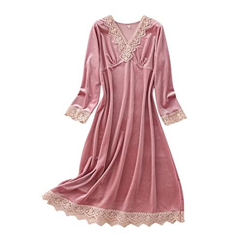 DEBAIJIA Pijama Mujer Albornoz Bata Casa Invierno Ropa Dormir Camisón Terciopelo Dorado Cálido Acogedor Transpirable (Rosa-XL)