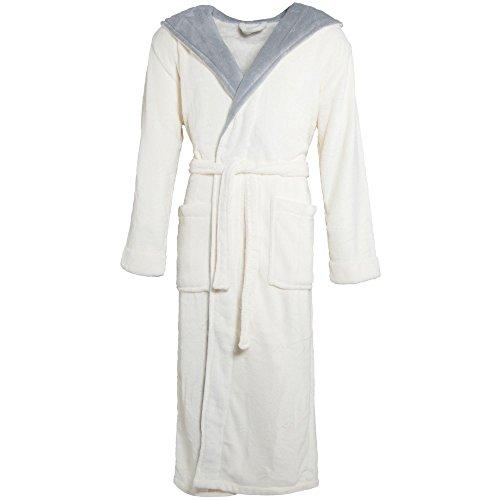 Celinatex Texas 4401, Albornoz Elegante Con Capucha Unisex, Gris (Cream White Gray), XXXL