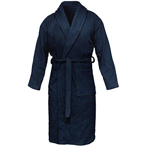 HOMELEVEL Albornoz de rizo, 100% algodón, tallas S - 6 XL, unisex, tallas grandes, azul marino, XXXXXXL