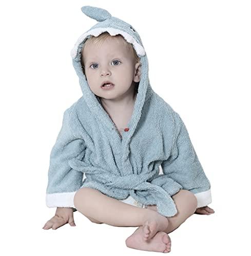 STOFIA Albornoz Bebes 100% Algodon - Toalla Bebe Recien Nacido 1 - 12 Meses Bata Casa Infantil Poncho Capa Y Regalos Para Niños (Tiburón Azul)