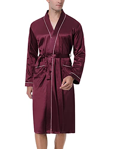 NC Bata de Seda Hombre Verano con Mangas Largas Albornoz de Satén Sedosa Cómodo Batas de Casa Kimono Suave Largo