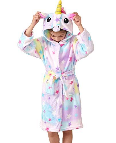 Ksnnrsng Suave Unicornio Albornoz con Capucha Ropa de Dormir- Regalos de Unicornio para Niñas (Estrella, 10-11 años)