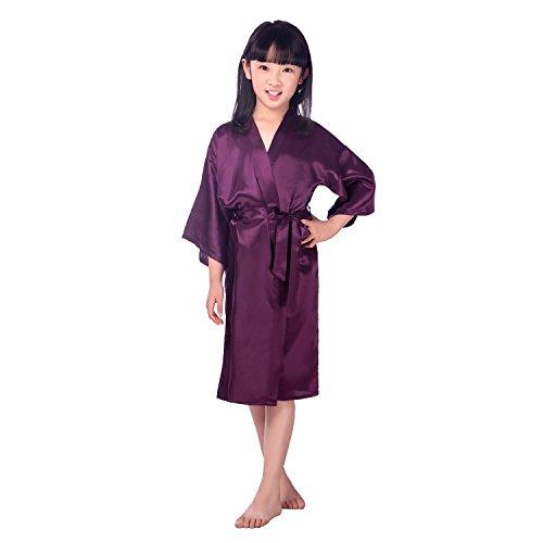 Mom's care Niños Niña Robe Satin Vestido de niña de Las Flores Albornoz de Seda para niños Color Puro Robe Albornoz Ropa de Dormir SPA natación cumpleaños