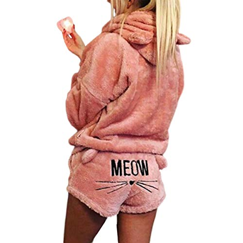 2 unids Mujeres Gato Pijamas Cute Girls Meow Sleepwear Suave Albornoz Shorts Winter Lounge Sleepwear Sets (Color : Pink, Size : S)