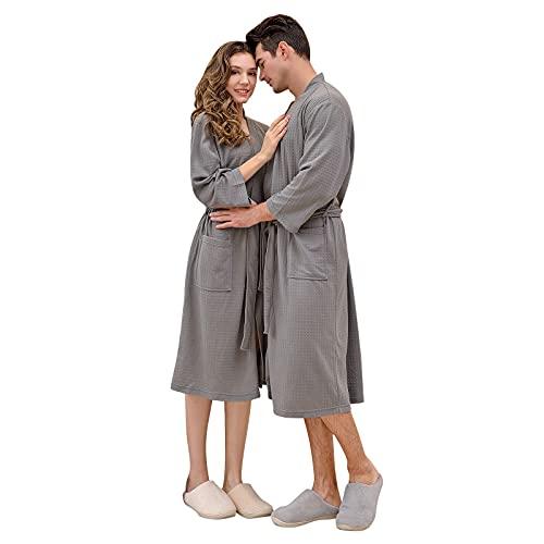 NBBD - Toalla de baño unisex, albornoz de baño, camisa de noche, albornoz, vestido de dormitorio, albornoz, albornoz, para mujer, hombre y mujer, ropa de baño, 06-gris, XXXL